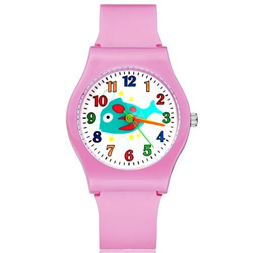 SFBBBO Reloj niño Moda Estilo pez Lindo niños Estudiante niña niños Cuarzo Correa de Goma Relojes de Pulsera Rosa