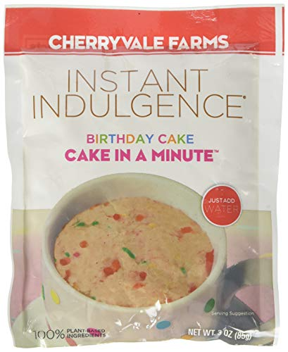 Cherryvale Farms Instant Indulgence Mug Cake Mix, Birthday Cake, Microwave Dessert, Vegan, GMO-Free (6 single serve pouches)