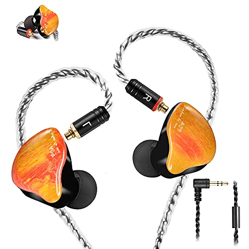 Famedy in-Ear Monitors in Ear Headphone Earbuds Wired Earphone Dual Drivers Headphone with MMCX Detachable Cables,Noise-Isolating Earbud for Musicians Sweatproof Headphone (Yellow Solid Wood)