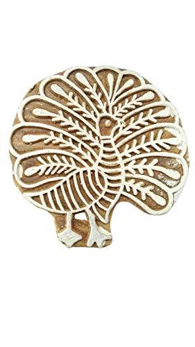 Stoffdruckstempel Crafty Peacock Shape Holzblöcke - GRÖSSE: L X H (7 cm x 7 cm)
