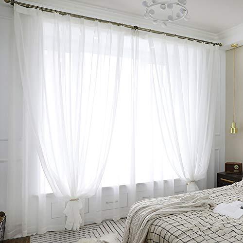 1pcs - Cortinas Poliéster Translucida de Moderno Cortina Ventana Visillos Salon para Dormitorio Comedor (blanco,rosa,azul,color café,beige,gris)