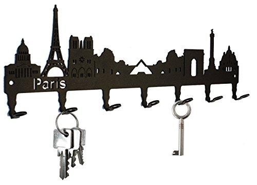 Titular de la clave/gancho Skyline Paris - Francia clave ganchos para pared, colgador - 7 ganchos negro Metal