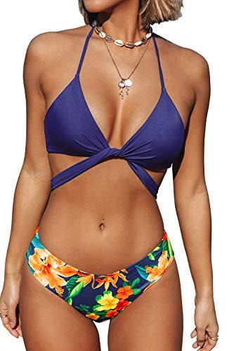 CUPSHE Conjunto de Bikini Mujer Rayas Anudado Cintura Baja Traje de Baño de Dos Piezas, XS
