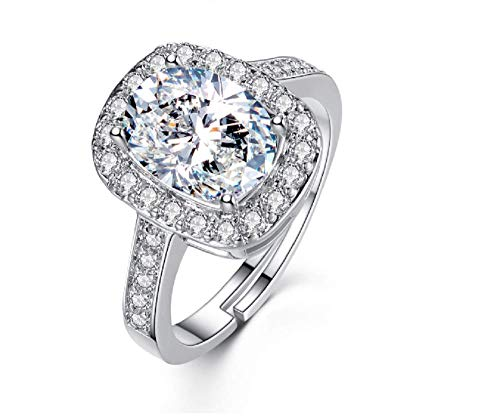 Weishu 925 Sterling Silver Cushion Cut Halo Solitaire Engagement Ring 3 Carat VVS1 Simulation Diamond Engagement Ring Women's Cubic Zirconia Cz Engagement Ring Opening Adjustable
