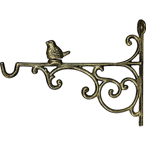 Hanging Brackets Cast Iron Bird hängend Blumenkorb Halterung Haken for Garten Innenhof Rasen (Color : As Shown, Size : 27x20.5cm)