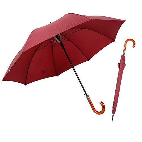 TIME LOVER Stick Umbrella Oversize Windproof Umbrella Wooden Hook Handle J Stick Automatic Open Fast Drying Umbrella for Men Women (Red stripe)