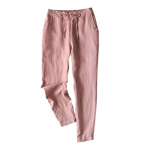 VRTUR Damen Hose mit Schlag Sommerhose Gummibund Freizeithose mit Taschen und Gürtel Lang Weites Bein Leinenhose Rosa M