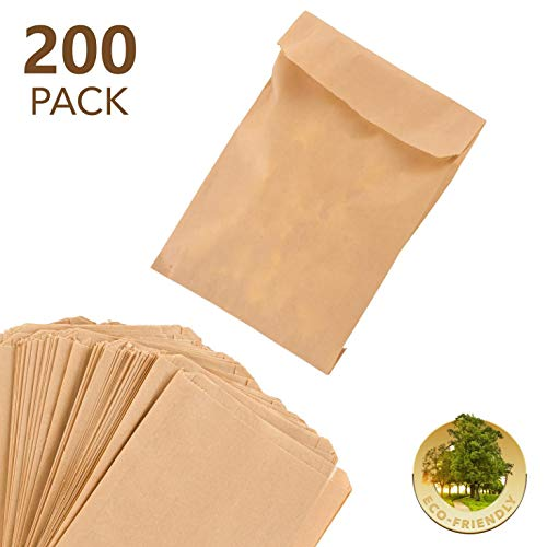 Paper Sandwich Bags Kraft Brown 200 Pack - Biodegradable and Compostable Food Grade Paper Bags - Unbleached Compostable Natural Kraft Paper Stock Bags for Bakery Cookies, Treats, Snacks, Sandwiches