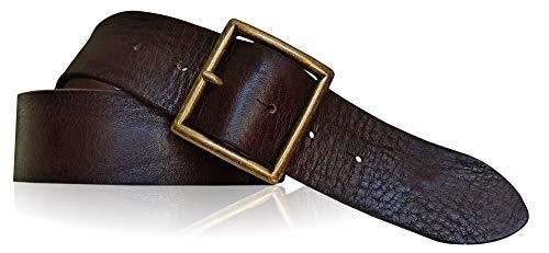 FRONHOFER 18608 - Cinturón de alta calidad para hombre (4,5 cm, hebilla de latón macizo, resistente a la rotura, acero inoxidable) marrón oscuro extra-large