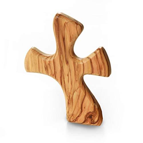 KASSIS Olivenholz Handschmeichler Kreuz Glücksbringer 13cm geschwungen - handgemacht in Bethlehem