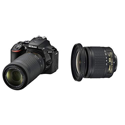 Nikon D5600 + AF-P 18-55 VR + AF-P 70-300 VR Kit de Reflex numérique 24,2 Mpix Noir et Nikon JAA832DA Objectif AF-P DX Nikkor 10-20 mm f/4.5-5.6G VR pour Appareil Photo Noir
