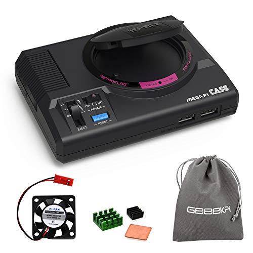 GeeekPi Retroflag MEGAPi Case mit funktionaler Power- und Reset-Taste Sicheres Herunterfahren und sicheres Zurücksetzen mit Lüfter und Kühlkörpern für Raspberry Pi 3 B + und Raspberry Pi 3/2 Modell B