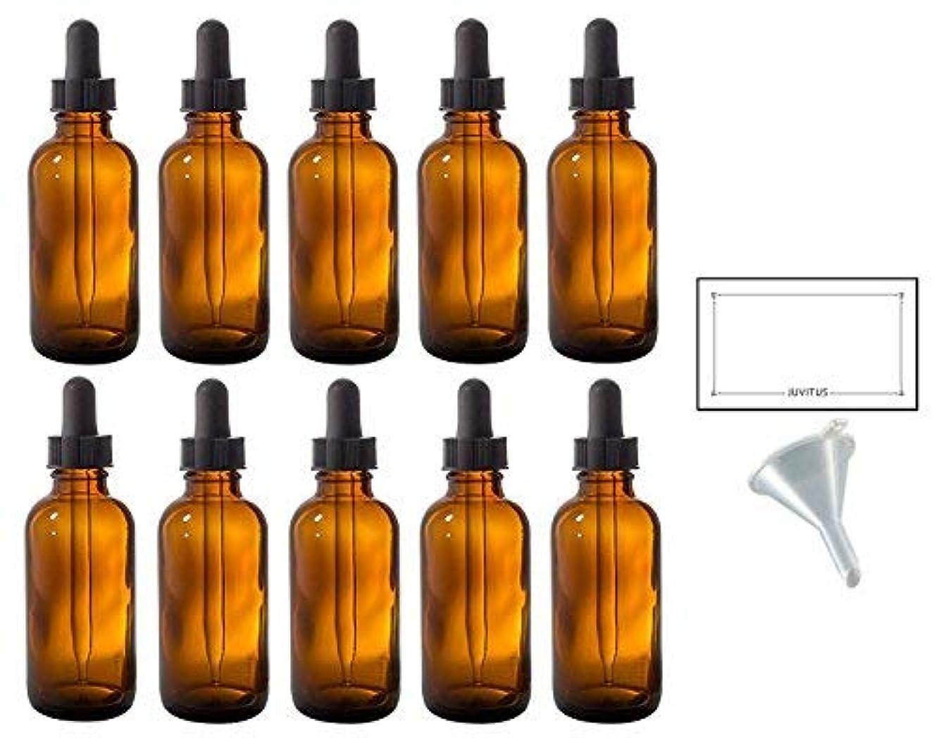 家サイバースペース見て2 oz Amber Glass Boston Round Dropper Bottle (10 pack) + Funnel and Labels for essential oils, aromatherapy, e-liquid, food grade, bpa free [並行輸入品]