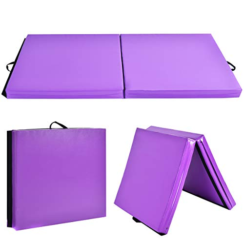 Giantex 6'x3.2'X4'' Gymnastics Mat Thick Folding Panel for for Gym, Aerobics, Yoga, Martial Arts with Hook & Loop Fasteners (Purple)