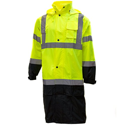 RK Class 3 Rainwear Reflective Hi-Viz Black Bottom Long Rain Coat RC-CLA3-LM22 (3XL, Lime)
