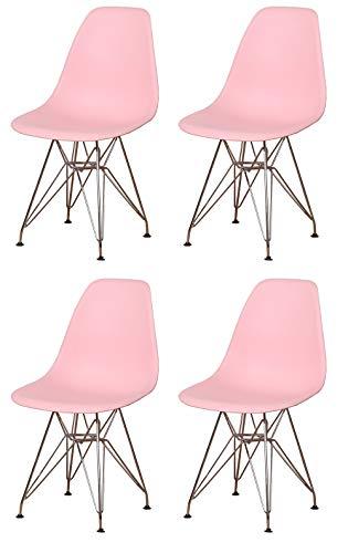 Silla de comedor de plástico estampada con base de metal y patas de acero para salón, dormitorio, sala de espera, oficina, recepción, café, juego de 4 (rosa)