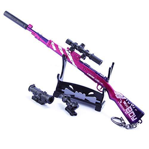 QISUO Llavero de rifle de francotirador de 98 K, modelo de batalla, regalo para niños, juguete mini figura de arte, colección de acción, decoración de metal, arma, accesorios