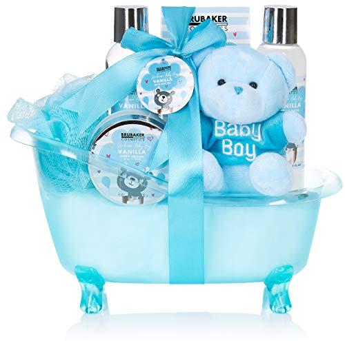 BRUBAKER Cosmetics 7-teiliges Baby Geschenkset Junge - Geschenk für Neugeborene Babyparty Junge - Babypflege Set mit Wanne und Plüschbär - Baby Geschenk Hellblau Blau
