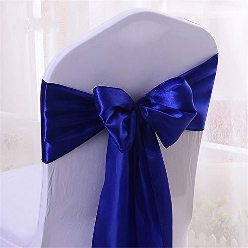 YMOMG Elastische Stuhl-Schleifen mit Satinschleifen, für Hochzeiten, Partys, Dekorationen (Königsblau,100pcs)