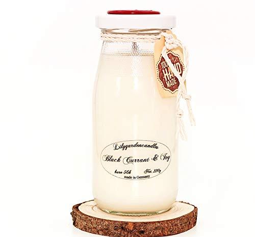 Lilygardencandles geurkaars in geur zwarte bessen & klimop in de milk fles/sojawas kaars met een brandtijd meer dan 56 uur