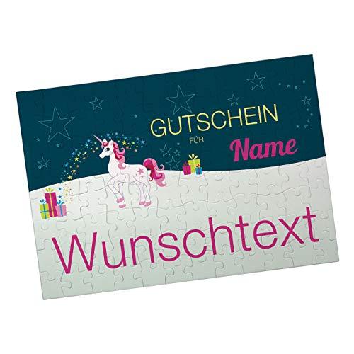 Herz & Heim® Gutschein-Puzzle mit Einhorn und eigenem Text Bedruckt