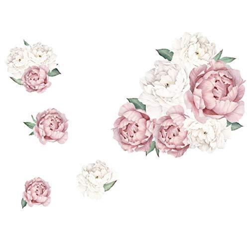 Meclelin Wandtattoo Wandsticker Abnehmbare Wandaufkleber Groß Blumen Pfingstrose Rose Hintergrund für Schlafzimmer Home Dekoration Aufkleber Blume Wohnzimmer (B)