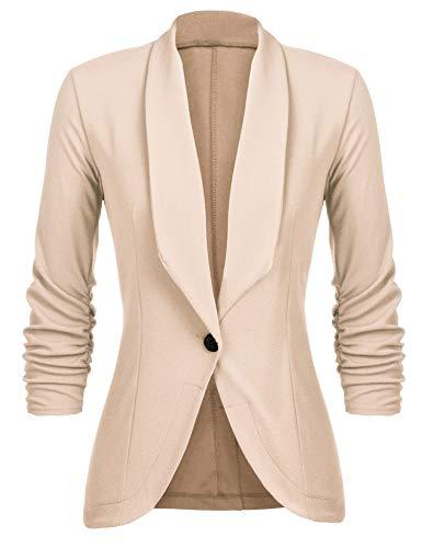 Unibelle Damen Blazer Cardigan Dünn 3/4 Längere Elegant Leicht Bolero Jacke Blazer Slim Fit Anzug Trenchcoat , Aa-khaki, 38(Herstellergröße:M)