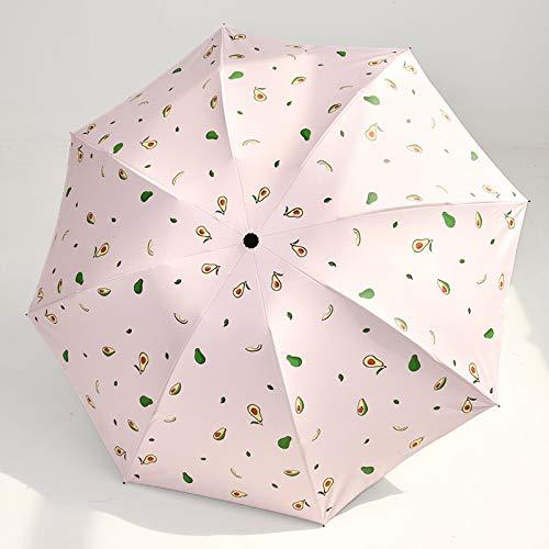 LUOLUOSM Paraguas a Prueba de Viento, Paraguas de Aguacate, Paraguas automáticos Plegables Transparentes para niños, Mujeres, UV, Paraguas de Lluvia Encantador