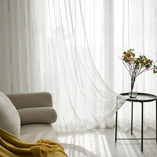 ALIPC Cortina de 2 paneles para sala de estar, dormitorio, balcón, cortinas de gasa jacquard, cortinas semitransparentes, de lino, plisadas, de tul, blanco, 170 x 140 cm -45537R9W3Z