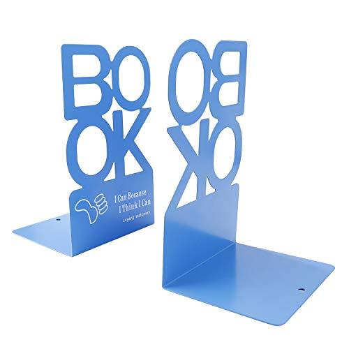 Sujetalibros de Metal'BOOK' Forma de Alfabeto Antideslizante Organizador de Libros de Metal para Escritorio, Oficina, Decoración del Hogar, Estudiantes Regalo 1 Par (Azul, Altura 205 mm)