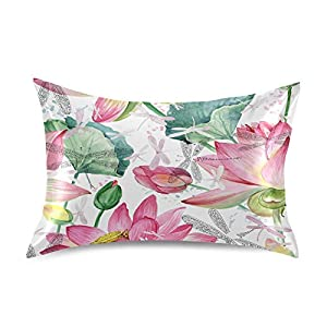 KEEPREAL Pink Lotus Flowers Satin Pillowcase for Hair and Skin Silk Pillowcase – Slip Cooling Satin Pillow Covers with Envelope Closure, Standard Size(20×26 inches)