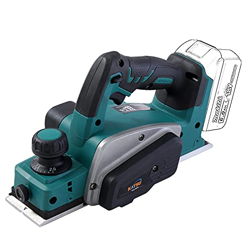 KATSU FIT-BAT 21V Cordless Planer, Electric Hand Planer with 82mm Width and 2mm Depth, 15000rpm, Extra Blades Included, Without Battery or Charger
