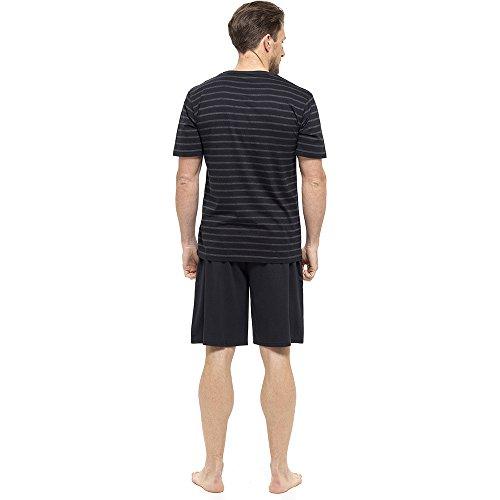 Mens/Gentlemens Nightwear/Sleepwear Striped Short Sleeve T-Shirt & Shorts Pyjama Set, Black Large