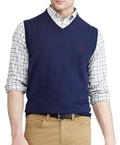 Chaps Men's Key Item Cotton V-Neck Sweater Vest (Navy, 2X Tall)