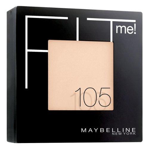 Maybelline New York Fit Me! Puder Light 105 / Make-Up Powder in einem Hautfarben-Ton, für einen makellosen und mattierten Teint, inkl. integriertem Spiegel & Schwämmchen, 1 x 9 ml