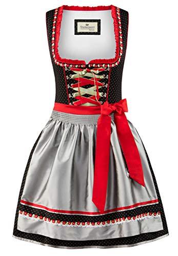 Stockerpoint Damen Patty Dirndl, Mehrfarbig (Schwarz-Silber Schwarz-Silber), (Herstellergröße: 38)