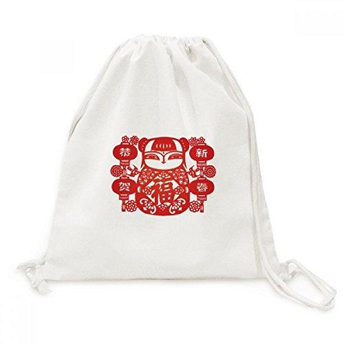 DIYthinker Rote Mädchen-Papier-Schnitt-Blumen-Laterne Canvas-Rucksack Reisen Shopping Bags