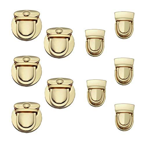 Aweisile Steckschloss 10 Stück Steckschlösser Portemonnaie Verschluss Taschenverschluss Taschenverschluss Taschenzubehör zum Nähen 2 Stil für Taschenherstellung Brieftaschen und Handtaschen DIY