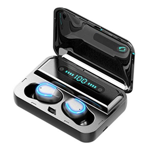 Mini Auricular Bluetooth Inalambrico 5.0, Audífonos Bluetooth Inalámbricos de Control Táctil, TWS Auriculares Impermeable Manos Libres Deportivo con Micrófono, con Estuche de Carga de 2000mAH F9