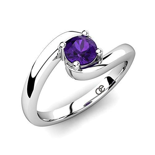 Silber-Ring Cherie mit einem qualitativen Amethyst Edelstein 0,35 ct AAA Qualität in 925 Sterling Silber im trendigen Solitär Design und Comfort-Fit mit Luxusetui