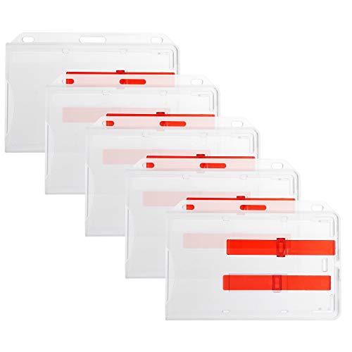5er Set (5 Stück) Ausweishülle für 2 Karten aus Hart-Plastik in transparent für 2 Ausweise / Kreditkarten EC Karte / Bankkarten / Gesundheitskarten mit zwei Schiebern aus Polycarbonat von YMAI