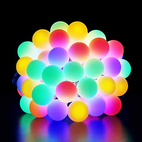 BrizLabs Globe String Lights 42.6ft 100 LED RGB Outdoor Fairy Lights, Waterproof 8 Modes Indoor Festoon Decorative Lighting for Christmas Bedroom Wedding Party, Multicolour
