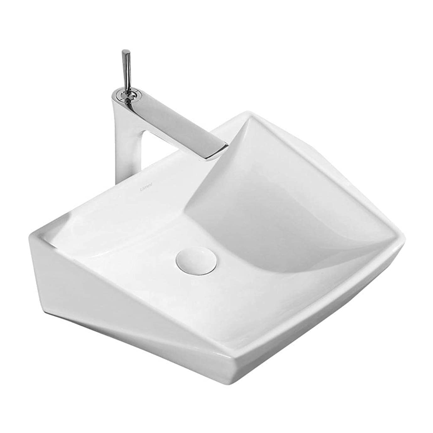 たっぷり黒人宇宙飛行士洗面ボール 現代上記カウンターダイヤモンドジオメトリセラミックバス船シンクカウンターシンクの洗面化粧台のキャビネットバスルームのシンク 浴室洗面台 (Color : White, Size : 60X42.5X15.5CM)