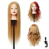 LNASI Mannequin Head 24-26 inch 100% human hair Styling Training Head Cosmetology Manikin Head Doll Head for Hairdresser with Free Clamp