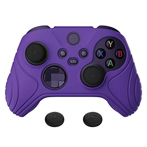 eXtremeRate PlayVital Samurai Edition Purple Anti-Slip Controller Grip Silicone Skin, Ergonomic Soft Rubber Protective Case Cover for Xbox Series S/X Controller with Black Thumb Stick Caps