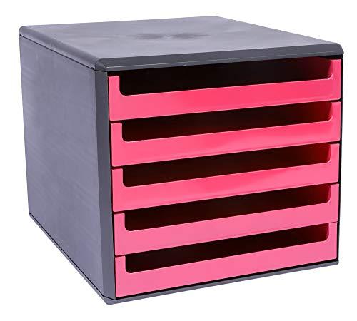 Metzger & Mendle 30057660 Schubladenbox anthrazit mit 5 Schüben in sunset-red (pink)