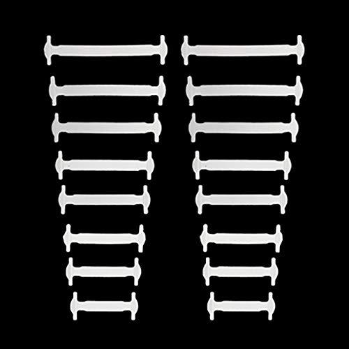 Lidahaotin 16pcs / Paar Erwachsener Einfach Keine Faule Elastic Keine Krawatte Schnürsenkel Freie Binden Silikon Schnürsenkel Leicht Schnürsenkel Weiß