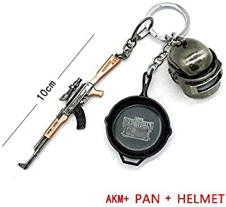 Duoles Miniature Metal Removable Cartridge Exquisite for PUBG Keychain Accessories Keychain Charm Souvenir Gifts (AKM+PAN+Helmet)