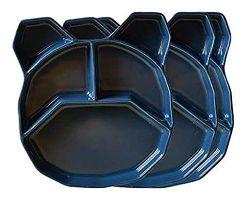 LBBZJM Placa de Cena Placa de Postre Porcelana 3 Paquete Cerámica Placa Dividida Placa Cena Placas Niños Lindo Todos los días Comedor Almuerzo Placas Lavavajillas Caja Fuerte (Color : Azul)