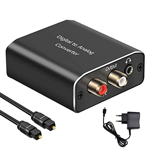 192KHz DAC Convertisseur, AMANKA Aluminium Numérique vers Analogique Audio Adaptateur Digital SPDIF Optique Coaxial vers Analogique Stéréo Audio avec câble Optique pour PS3 Xbox HDTV DVD Blue Ray